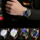 US Luxury Fashion Men's Watch Faux Leather Stainless Steel Quartz Analog Watches