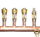 "11/2"" Copper Manifold 5/8"" Compresson STAND. PEX (W & W/O Ball Valves) 2-12 Loop"