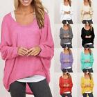 Womens Loose Pullover T Shirt Batwing Long Sleeve Solid Tops Shirt Blouse S3Z5