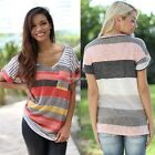 Women Tops Colorful Striped V-Neck Loose Short Sleeve shirt blouse T-Shirt N98B