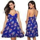 Women Strap V-Neck High Waist Floral Slim Club Chiffon Mini Pleated Dress EN24H
