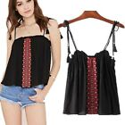 Women's Floral Embroidery Ruffle Spaphetti Straps Swing Crop Top Vest Top Cami