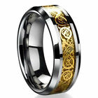 8MM Gold Silver Dragon Stainless Steel Men Wedding Rings Cool Band Ring