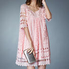 Pink applique lace baby doll high quality dress tunic top #3299 Size L XL