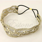 Fashion Womens Lace Faux Pearl Beads Headhand Hairband Elastic Hair Head Band