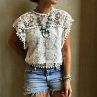New Fashion women tops lace ballflower o-neck Hollow out t shirt lady blouse