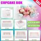 Paper Cupcake Box Range 1/2/4/6/12/24 Holes Window Face Party Baking Wedding AU