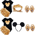 4 pcs Newborn Baby Girls Minnie Bow Romper Headband Hair Hoop Shoes Outfits Set