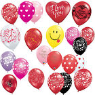 "SAINT VALENTIN - 6 x Latex 11"" BALLONS (Hélium/Air) (Qualatex) Amour/Cœurs/Rouge"