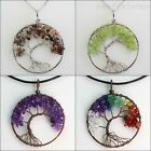 Natural Amethyst Lapis Lazuli Peridot Chip Beads Tree of Life Pendant Necklace