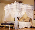 White  Four Corner Post Bedding Curtain Canopy Mosquito Netting Twin Queen Size