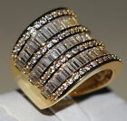 Size 5-11 Princess Cut Luxury Jewelry 925 Silver&Yellow Gold Plated Wedding Ring