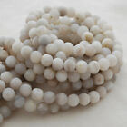 Grade A Natural White Lace Agate Matte Gemstone Round Beads - 4, 6, 8, 10mm -16""
