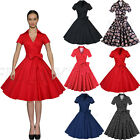 Womens Short Sleeve Vintage Style Pinup 50s 60s Rockabilly Swing Dress Skater