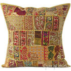"24"" Large Brown Patchwork Decorative Pillow Cushion Cover Throw Bohemian Boho In"
