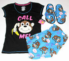 Joe Boxer 3pc Sleepwear Set Monkey Call Me Size Small, NEW