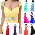 Cap Sleeve Formal Prom Dresses Party Bridesmaid Evening Ball Gowns UKStock Size