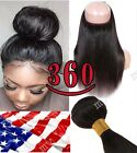 "360 Lace Frontal Closure With Bundles Human Hair Straight Body Wave 10""-24""HQ317"