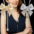 D41 Long Adjustable Metal & Crystal Bow Lariat Sweater Necklace