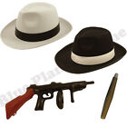MENS GANGSTER PIMP MAFIA HAT CIGAR & INFLATABLE TOMMY GUN FANCY DRESS COSTUME