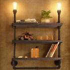 Rustic Loft Pipe Industrial Retro Iron Shelf Wall Light Bookshelf Lamp Room