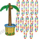 INFLATABLE PALM TREE COOLER & 12X HAWAIIAN FLOWER GARLAND LEI NECKLACE HULA HEN