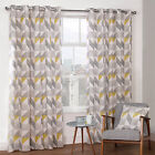 Julian Charles Delta Grey & Yellow Luxury Lined Eyelet Curtains (Pair)