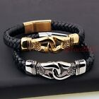 Charm Silver/Gold Stainless Steel Braided Leather Bracelet Men's Jewelry 8.66''