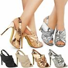 Womens Ladies Slingback Sandals High Heels Stilettos Peep Toe Knot Shoes Size UK