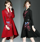 Women's Black Red Embroidery Long Sleeve V Neck Cocktail Party Dress Size 6-14