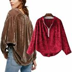 Womens Button Collar Long Sleeve Velvet Loose Blouse Shirt Tops Simple Style