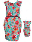 Sexy Vacation Dress Turquoise With Large Tropical Flowers Choice 1XL 2XL or 3XL