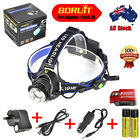 9000Lm XM-L T6 LED Headlamp Focus Headlight 2x18650 Battery+AU/USB Charger Kit