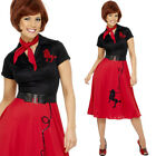 50s Red Poodle Dress – Womens Black 1950s Fancy Dress Costume Red Fifties Outfit