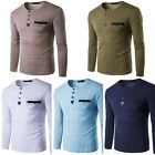 2017 Mens Long Sleeve T shirt Casual Shirts Slim Fit Pocket Muscle Tops Tee hot