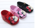 Newborn Baby Girl Sofe Sole Crib Shoes Size 0-18 M Pink & Red & Black 3 Colors