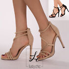 WOMENS STILETTO HIGH HEEL ANKLE STRAPS SANDALS LADIES PEEP TOES PARTY SHOES 3-8