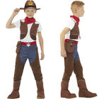Boys Cowboy Costume Deluxe Brown Top Trouser Necktie Bandana Smiffys 48208