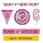 AGE 6 - Happy 6th Birthday PINK GLITZ - Party Balloons, Banners & Decorations