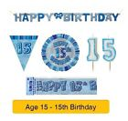 AGE 15 - Happy 15th Birthday BLUE GLITZ - Party Balloons, Banners & Decorations