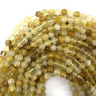 "Natural Yellow Rutilated Quartz Round Beads 15"" Strand 4mm 6mm 8mm 10mm 12mm"