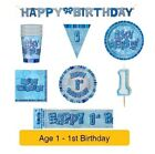 AGE 1 - Happy 1st Birthday BLUE GLITZ - Party Balloons, Banners & Decorations/HB