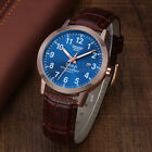 Men's Brown Leather Band Date Hours Analog Quartz Sport Blue Dial Wrist WatchWristwatches - 31387