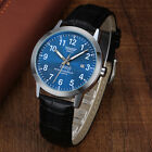 Men's Brown Leather Band Date Hours Analog Quartz Sport Blue Dial Wrist Watch Wristwatches - 31387