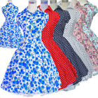 Vintage Hepburn Style Print Floral 50s 60s Retro Swing Rockabilly Dress Pinup
