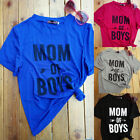 Women Casual *MOM OF BOYS*Short Sleeve Blouse T-shirt Top Loose Ladies Mom Gift