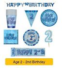 AGE 2 - Happy 2nd Birthday BLUE GLITZ - Party Balloons, Banners & Decorations/HB