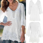 Women Floral Lace Bell Sleeve Tops Blouse Boho Tunic Summer T-Shirt Blouse new.