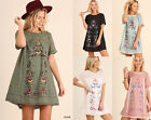 S-2X UMGEE Floral Embroidered Lace Trim Boho Dress Black Olive Peasant Tunic Top