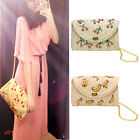 Women Summer Mini Straw Beach Tote Messenger Chain Shoulder Bag Handbag Satchel